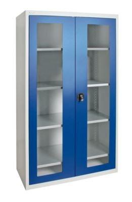 Flügeltürschrank - mit Sichtfenstertüren, 4 Fachböden lichtgrau / enzianblau - Flügeltürschrank Materialschrank Sichtfensterschrank