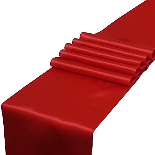 Parfair Dessin Pack of 10 Satin Table Runners 12 x 108 inch for Wedding Banquet Reception Party Decoration, Bright Silk and Smooth Fabric Party Table Runner - Red