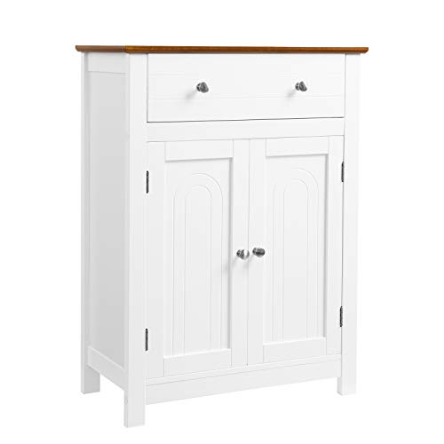 (VASAGLE Free Standing Bathroom Storage Cabinet with Drawer and Adjustable Shelf, Kitchen Cupboard, Wooden Entryway Floor Cabinet, 23.6 x 11.8 x 31.5 Inches, White & Brown UBBC62WT)