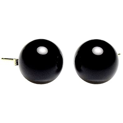 cd292bf95 Image Unavailable. Image not available for. Color: Trustmark 14K Yellow Gold  12mm Black Onyx Ball Stud Post Earrings