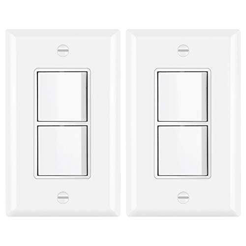 [2 Pack] BESTTEN Double ON/Off Rocker Light Switch, Single-Pole Combination Interrupter, 15A 120/277V, Dual Control Paddle Rocker, Wall Plate Included, White