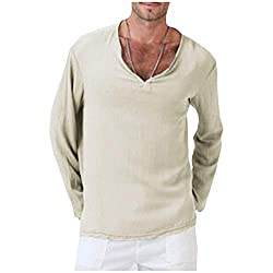Men's Linen Baggy Long-Sleeve V Neck T-Shirt