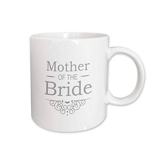 (3dRose (mug_151567_2) Mother of the Bride in silver - Wedding - part of matching marriage party set - grey gray swirls - Ceramic Mug, 15-ounce)
