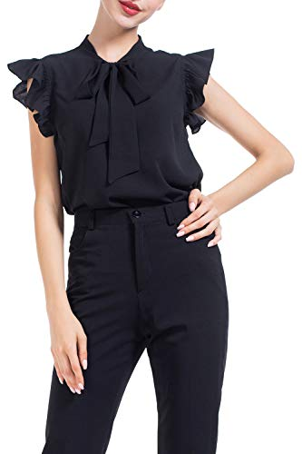 Ruffle Sleeve Shirt - AUQCO Women's Bow Tie Blouse Casual Ruffle Cap Sleeve Floral Top Shirts Black