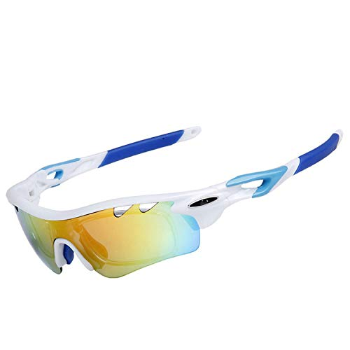 Colorful sea Polarized Bicycle Eyewear Outdoor Sport Cycling Sunglasses UV400 MTB Glasses Riding Bike Goggle,Blue-White (Sonnenbrille Hipster)
