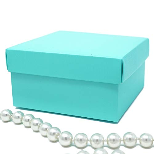 Party N Beyond Premium Favor Gift Box for Wedding, Bridal Shower, Birthday and All Events, 4x4x2 Size, 10 Count Per Pack (1-Pack, Robin Egg -
