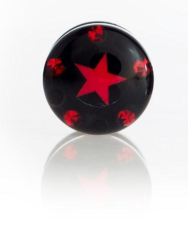 Boucles d'oreilles faux plug pour oreilles avec logo motif étoile noir avec acier rouge 10 mm serties de pierres ohrpiercing- 5862–sR