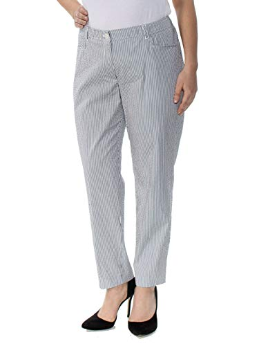 Anne Klein Womens Pinstriped Flat Front Pants Black ()