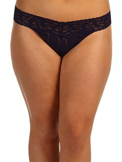Hanky Panky Womens Signature Lace Plus Size Original Rise Thong In Navy (Signature Womens Thongs)