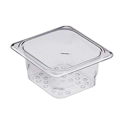 "Cambro 63CLRCW135 Camwear 1/6 Size Colander Food Pan, Clear, 3"" Deep, Case of ()"