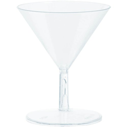 Washable Plastic Mini Martini Glasses Perfect for Appetizers, Desserts or Cocktails (20 Pack), 2.0 oz, Clear