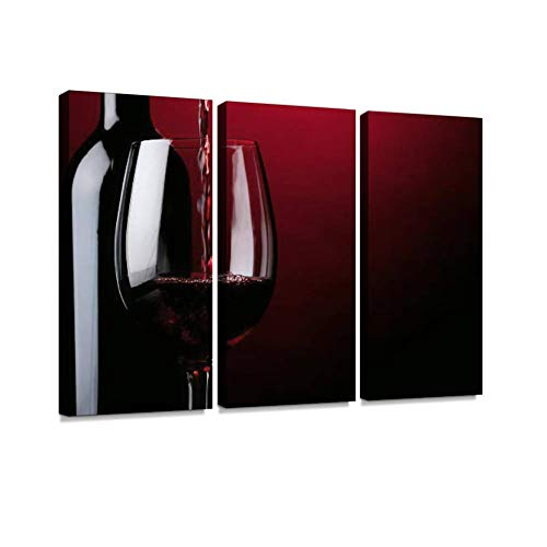 BELISIIS Pouring red Wine Wall Artwork Exclusive Photography Vintage Abstract Paintings Print on Canvas Home Decor Wall Art 3 Panels Framed Ready to Hang