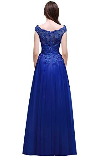 Vestido Una Blau Mangas Hermosa Noche Hombro De Vestidos Mujer Dama Encaje Festiva Marca Fiesta Fuera Sin Elegante Mode Royal Largos Para Moda Del Línea Honor xFwZwqAOS