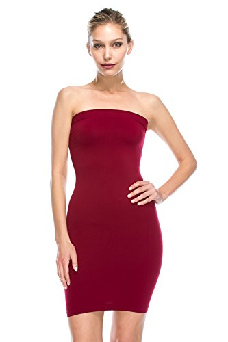 (Kurve Strapless Stretchy Comfort Mini Sexy Tube Dress, UV Protective Fabric, Rated UPF 50+ (Made with Love in The USA) Burgundy)