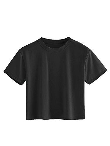 (SweatyRocks Women's Short Sleeve Crew Neck Solid Basic Crop T-Shirt 1-Black M)