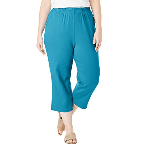 (Woman Within Women's Plus Size 7-Day Knit Capri - Laguna Blue, 2X)