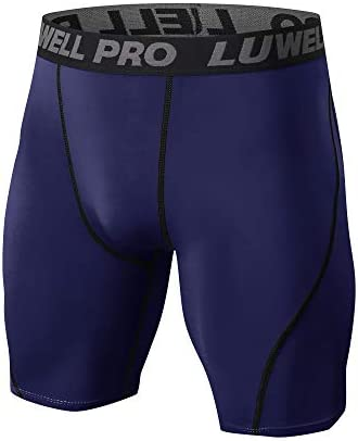 LUWELL PRO Mens 3 Pack Compression Shorts Baselayer Cool Dry Sports Tights Shorts for Running,Workout,Training