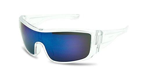 Mens Sport Full Shield Color Mirrored Lens Wrap Around Sunglasses (Clear | - Radar Path Lock
