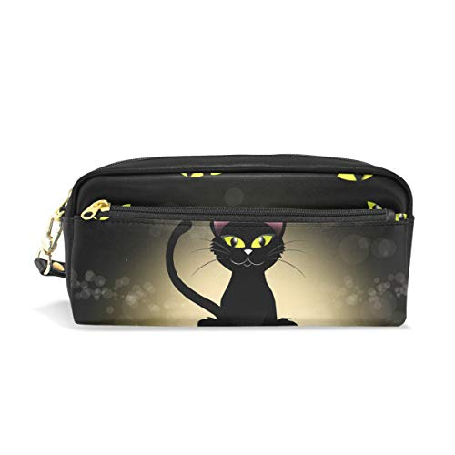 WIHVE Halloween Black Cat Eye PU Leather Pencil Case Pen Holder Stationery Pouch Bag Makeup Cosmetic Bag Large Capacity