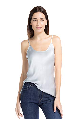 Camisole Scoop - Fishers Finery Women's 100% Mulberry Silk Cami; Adjustable Straps (Gray, M)