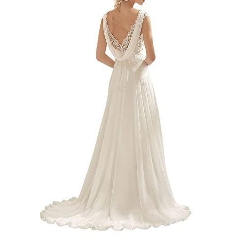 025ffdfc4 Abaowedding Women's Wedding Dress Lace Double V-Neck Sleeveless Evening  Dress