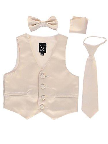 (Champagne Big Boys 4 Piece Formal Satin Vest Set Zipper Tie Bowtie Hanky 8)