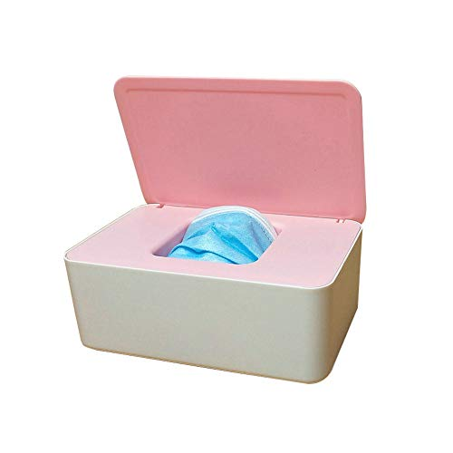 Onebycitess Baby Wipes Dispenser, Baby Wipes Case Holder Keeps Diaper Wipes Fresh Non-Slip Wipe Container Three-Layer Seal Design Prevent Moisture Loss (White/Pink)