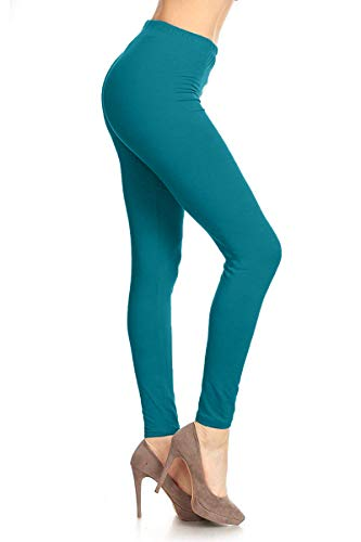 LDR128-Teal Basic Solid Leggings, One Size