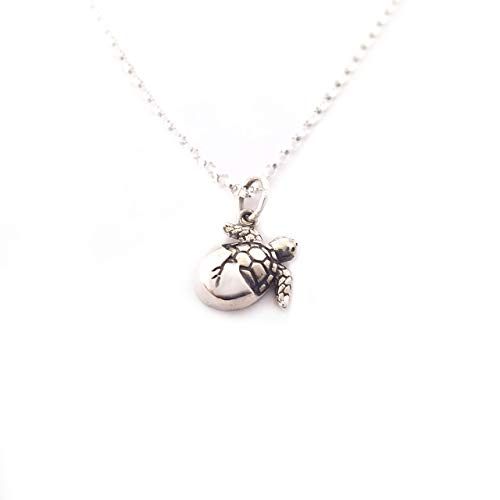 Hatching Sea Turtle Charm Necklace - Sterling Silver - Beach Necklace - Gift for Her