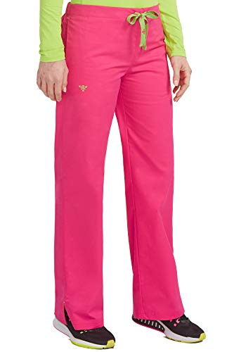 Med Couture Drawstring Signature Scrub Pants for Women, Strawberry/Apple, Large -