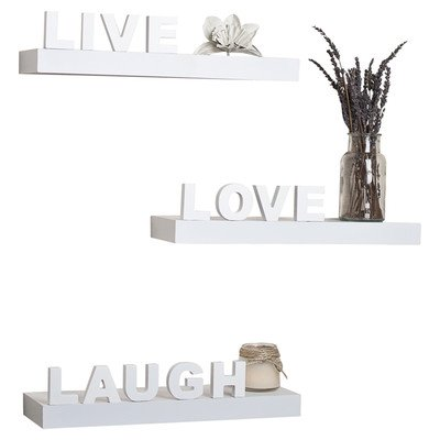 "3-Pc""Live""""Love""""Laugh"" Wall Shelf in White"
