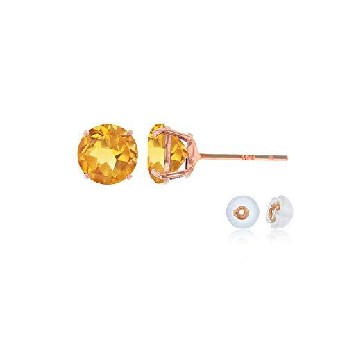 (Genuine 10K Solid Rose Gold 4mm Round Natural Citrine November Birthstone Stud Earrings)