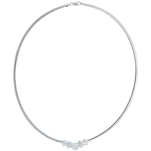 Sterling Silver 3mm Cubetto Necklace with Baguette Cubic Zirconia, 16 inch (Baguette Cubic Zirconia Necklace)