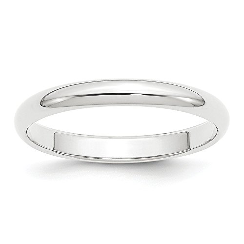 Platinum 3mm Half Round Wedding Ring Band Size 8.00 Classic Domed Fashion Jewelry Gifts For Women For Her