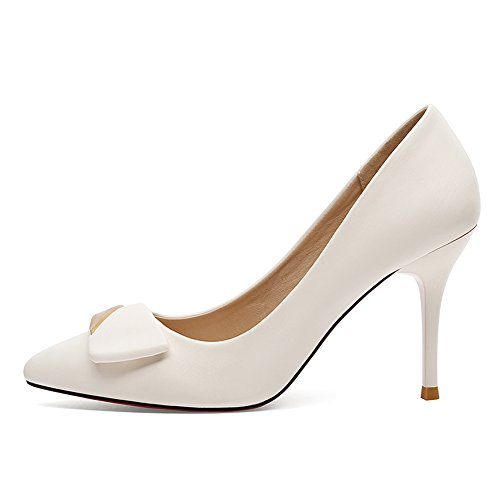 White Pump Toe Dethan Heel Womens High Pointed Shoes 4q0w7