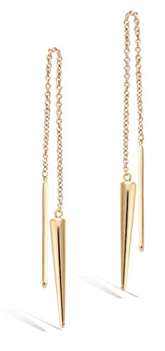 Agvana Yellow Gold Filled Bar&Taper Threader Earrings Minimalist Long Chain Dangle Earrings Ideal Gifts For Women, Length: 114mm