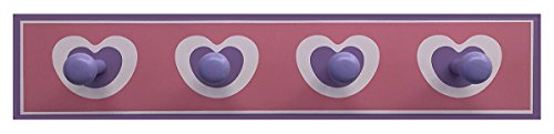 Headbourne 8051E Children's Pink Hearts Hook Rail / Coat Rack with 4 (Antique Heart Pine)
