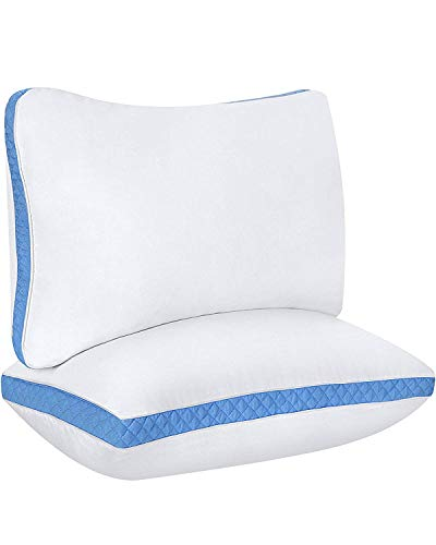 Utopia Bedding Gusseted Quilted Pillow King 18 x 36 Inches - Set of 2 Premium Quality Bed Pillows Side Back Sleepers Blue Gusset