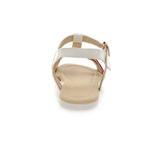 Carolbar Womens Zebra & Leopard Print T-strap Fashion Gesp Open Teen Flats Sandalen Rode Luipaard