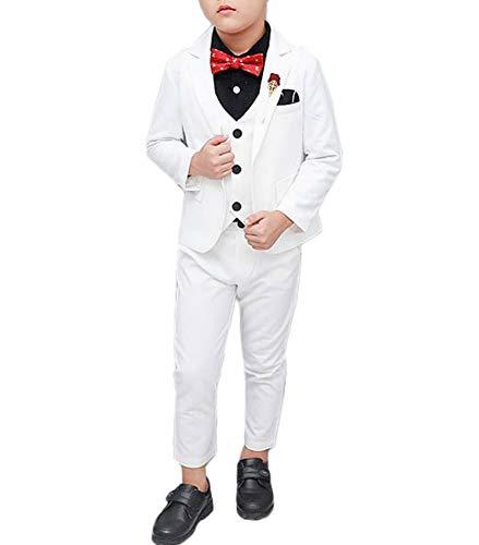 (Boys Suits for Wedding 3 Piece Slim Fit Formal Dress Wear Suit Set 3T White 90 cm)