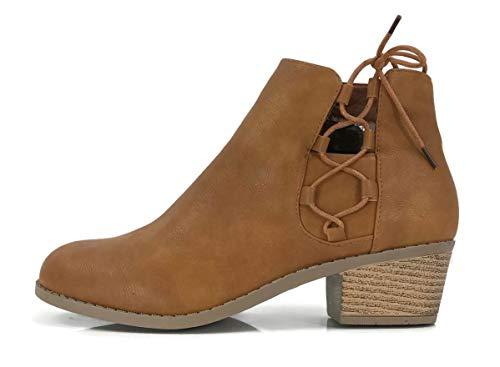 Women's Holly Ankle Bootie Criss Cross Faux Leather Flat Heel Zipper, Tan, 8 ()