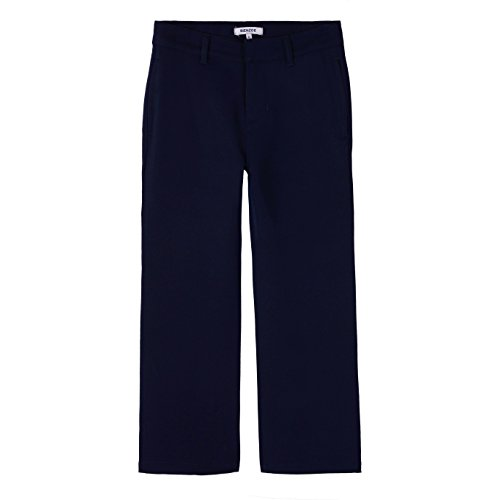 Bienzoe Boy's School Uniforms Stretchy Polyester Adjust Waist Flat Front Pants Navy 14 ()