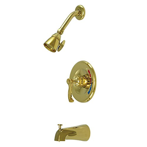 Elements Of Design Brass Polished Tub (Kingston Brass KB8632FL Royale Tub and Shower Faucet, 7-Inch, Polished Brass)