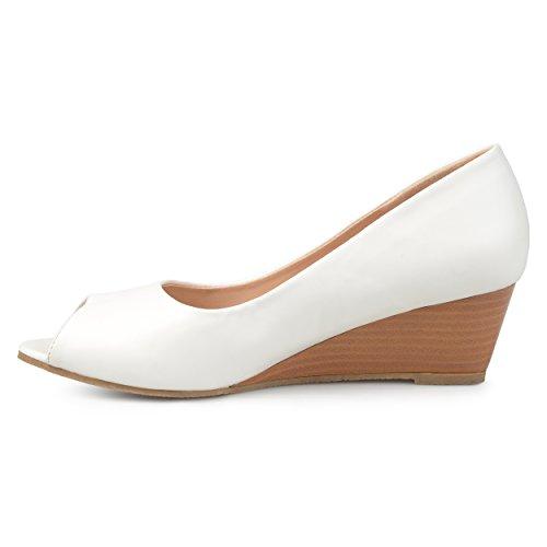 Journee Samling Kvinners Peep-toe Comfort-såle Wedges Hvite