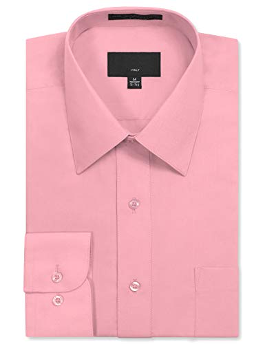 JD Apparel Mens Long Sleeve Regular Fit Solid Dress Shirt, Baby Pink, 17-17.5