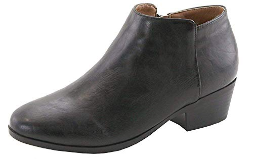 Bella Marie Bradee-07 Women's Side Zip Stacked Block Heel Ankle Booties Black Pu (8)