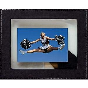 COSMOPOLITAN STITCH FLOAT Black Leather frame by Dennis Daniels® - 5x7
