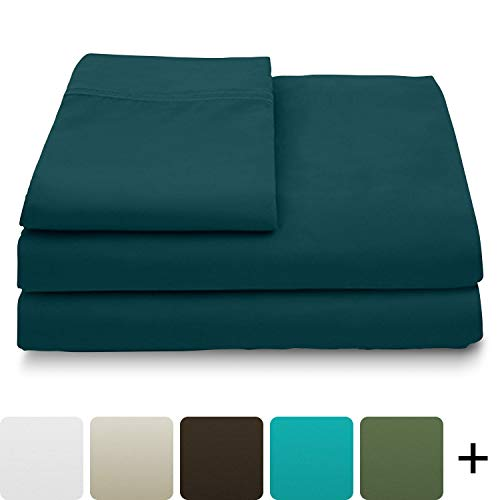 Cosy House Collection Luxury Bamboo Bed Sheet Set - Hypoallergenic Bedding Blend from Natural Bamboo Fiber - Resists Wrinkles - 4 Piece - 1 Fitted Sheet, 1 Flat, 2 Pillowcases - Queen, Dark Teal (Sheet Teal)