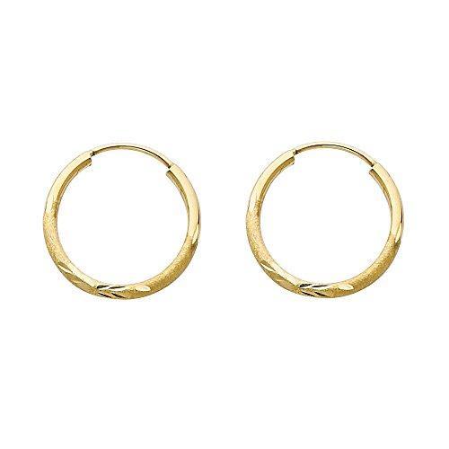 14k Yellow Gold 1.5mm Thickness Endless Hoop Earrings (17 x 17 mm) (Center Gold Matte 14k)