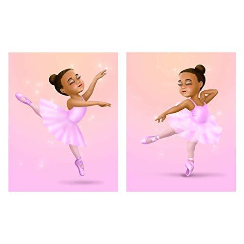 African American Ballerina Wall Art - Black Ballet Dancer in Pink Tutu - Set of 2 Unframed Art Prints - Dance Recital Gift - Baby Nursery and Girls Room Decor (African American Ballet Poster)